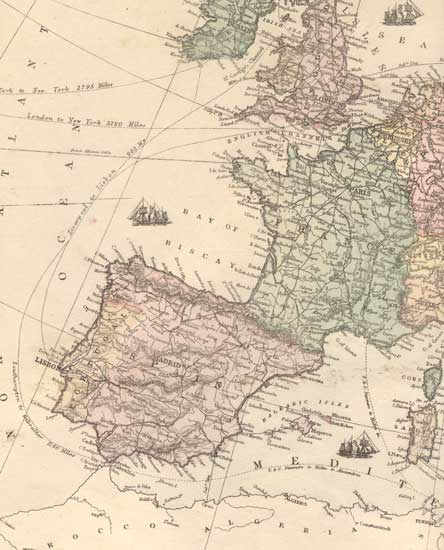 Map Of Spain And Portugal And France.1873 Map Of Spain Portugal France Fun Stuff For Genealogists Inc